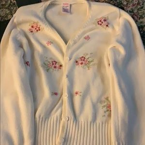 Gymboree cream sweater with mauve flowers